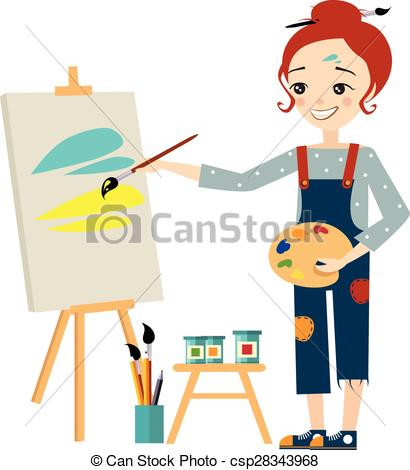 Beautiful Artist Woman Painting on Canvas.