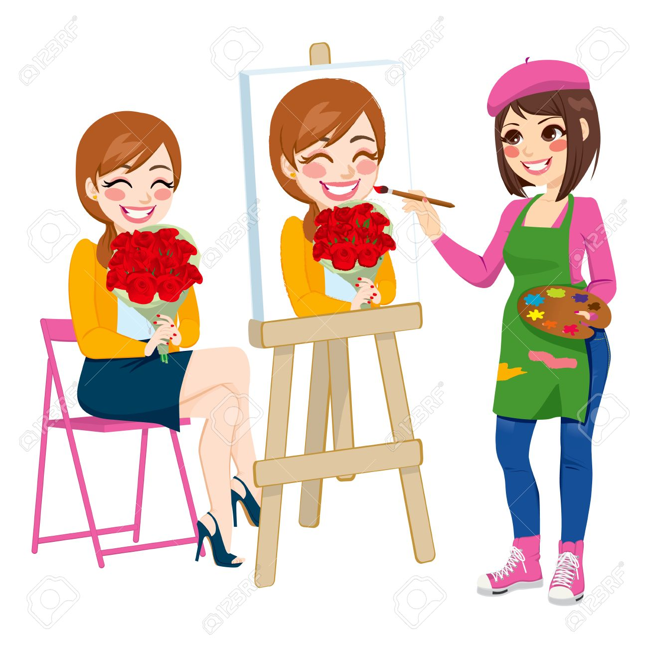 Beautiful artist woman painting portrait of happy woman holding...