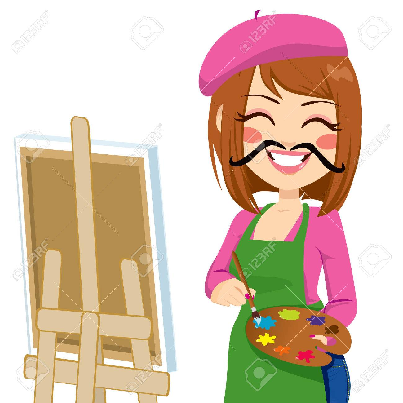 Happy brunette artist woman with funny mustache painting with...