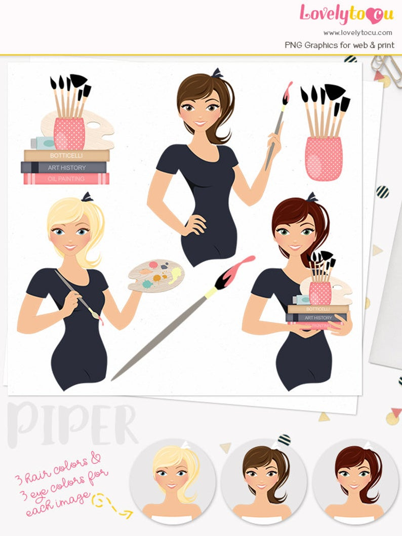 Woman artist character clipart, artistic woman clipart set with blonde,  brunette and auburn hair (Piper L135).