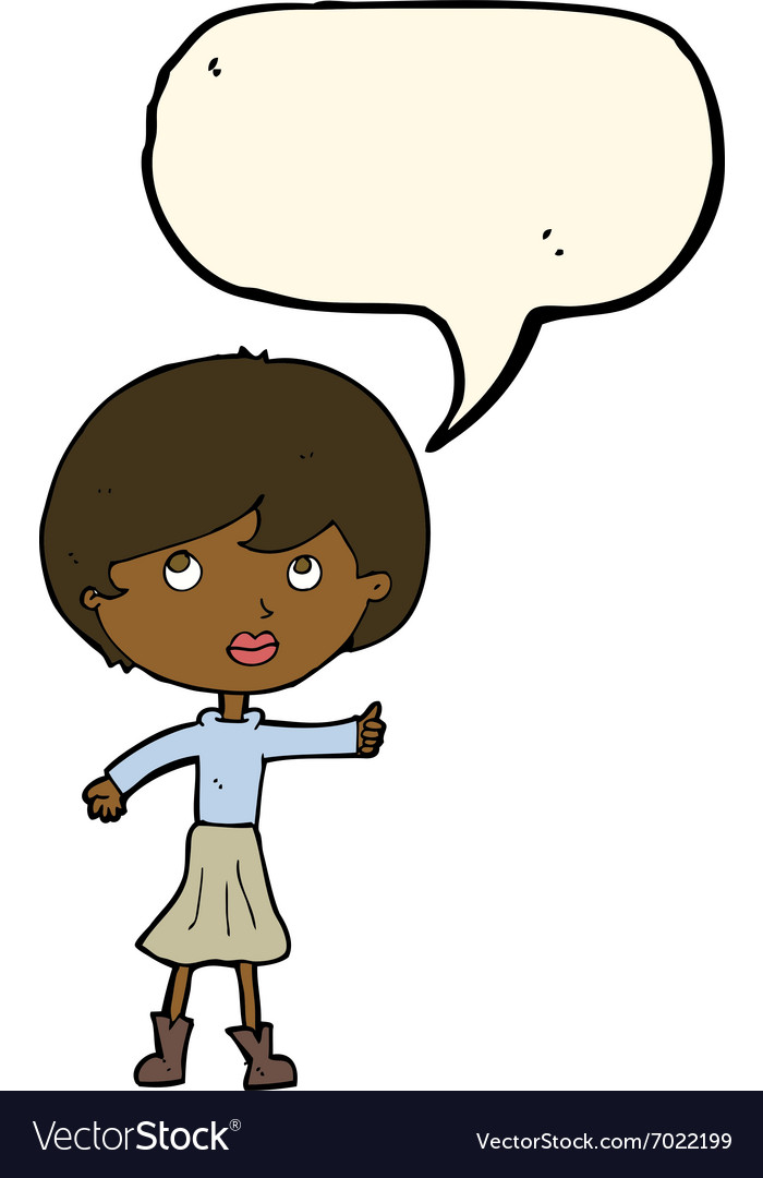 Cartoon woman asking question with speech bubble.