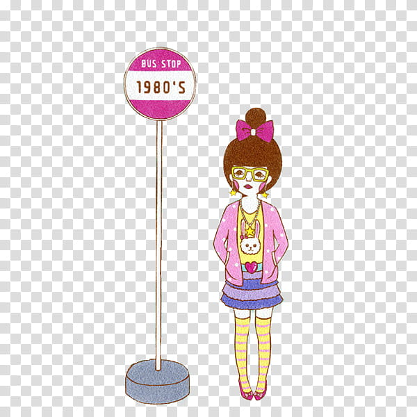 Files , woman standing beside bus stop \'s stand illustration.
