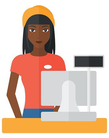 Saleslady standing at checkout Clipart Image.