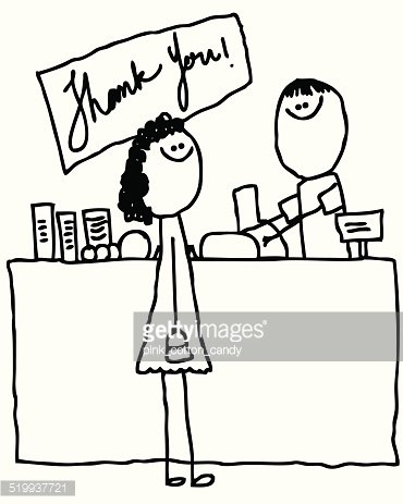 Woman Purchasing Food AT Grocery Checkout Counter premium.