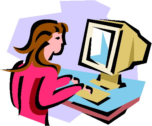 Woman at computer clipart free » Clipart Station.