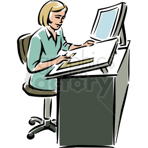 A Woman Sitting at a Desk Using a Ruler on A Large Piece of Paper clipart.  Royalty.