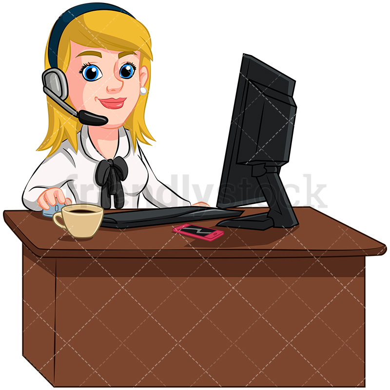 A Businesswoman At Her Desk Wearing A Headset.