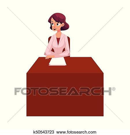 Young woman doctor, therapist sitting at her desk Clipart.