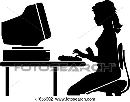 Woman at desk Clipart.