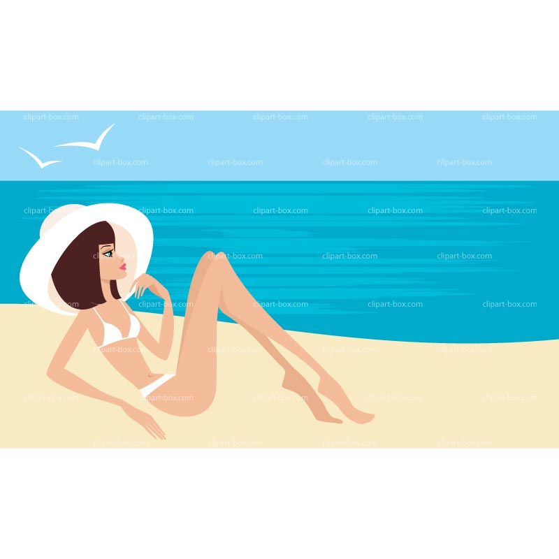 CLIPART GIRL ON THE BEACH.