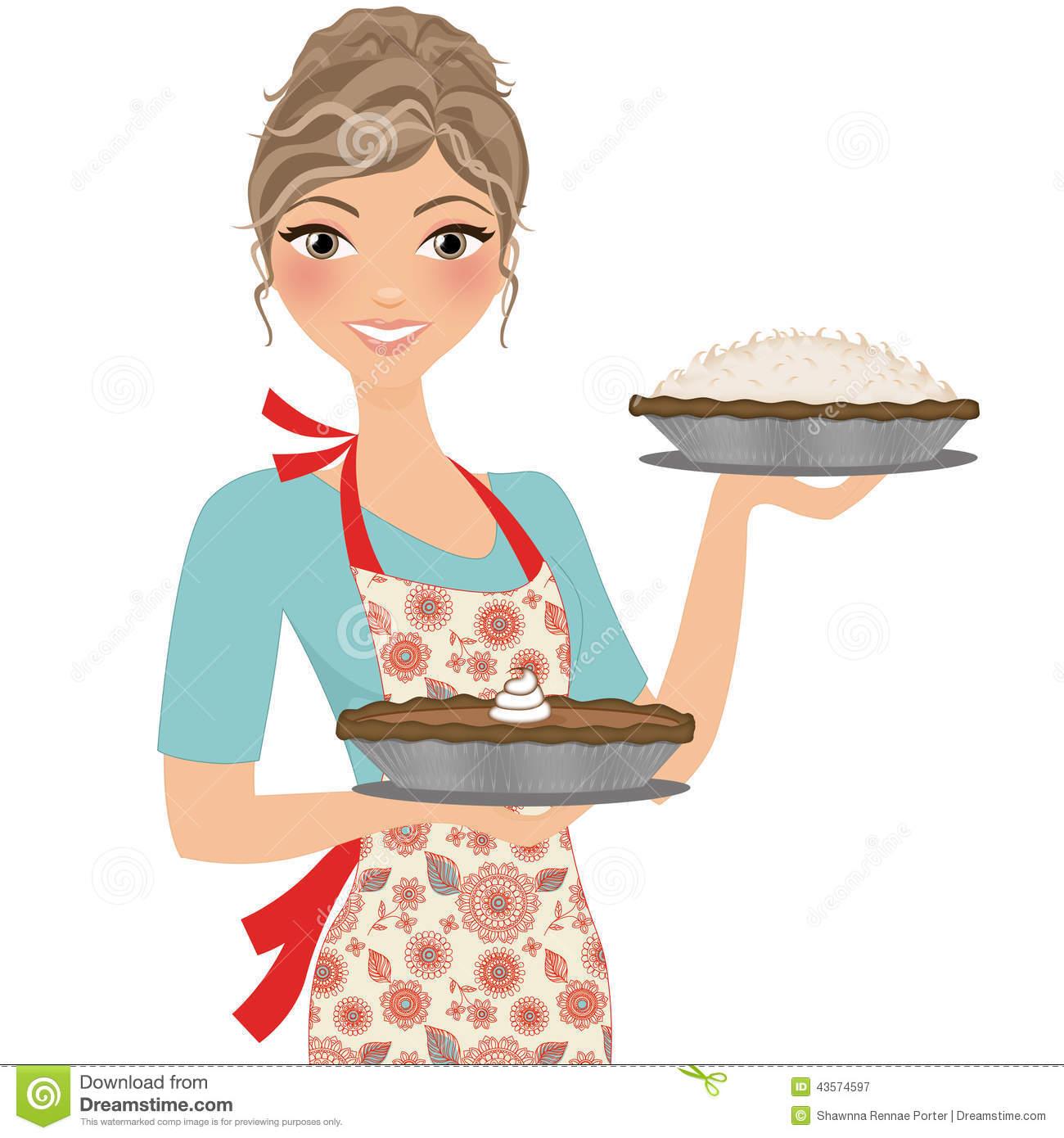 Woman Baker Christmas Clipart.