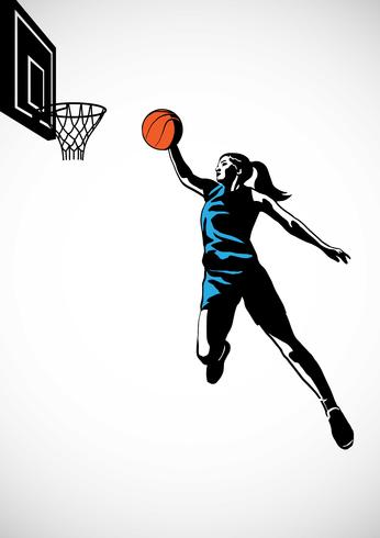 Female Basketball Player Slam Dunk Silhouette.
