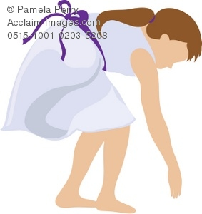 Clip Art Illustration of a Little Girl Reaching Down.