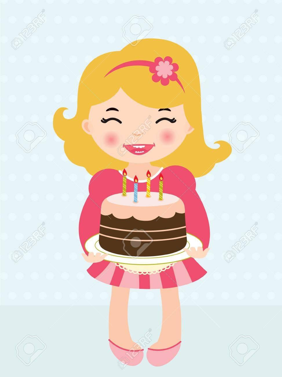 Girl Holding Cake Clipart.