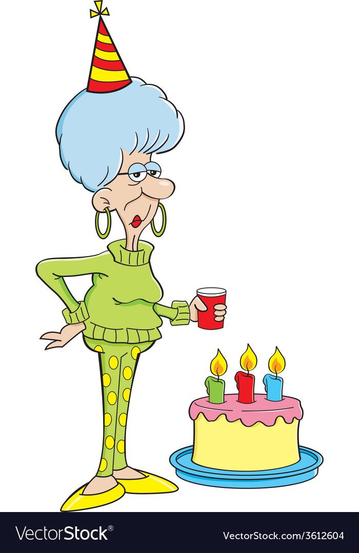 Cartoon senior citizen lady with a birthday cake vector image.