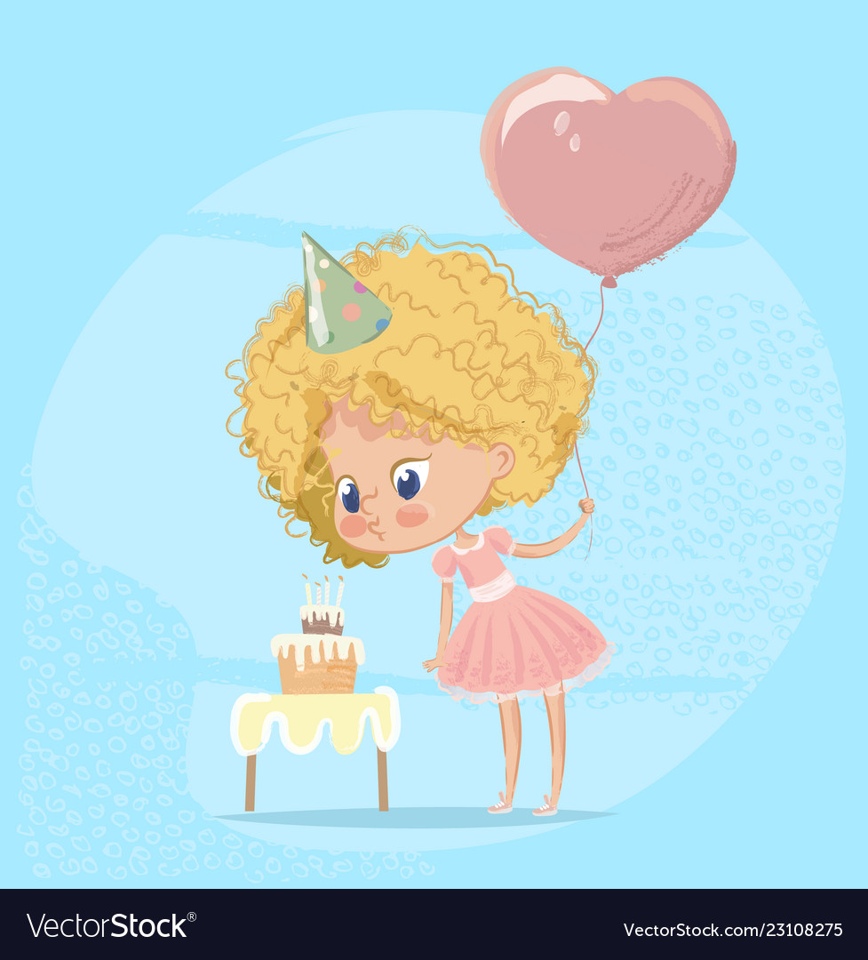 Baby girl blowing birthday cake candle cute blond.