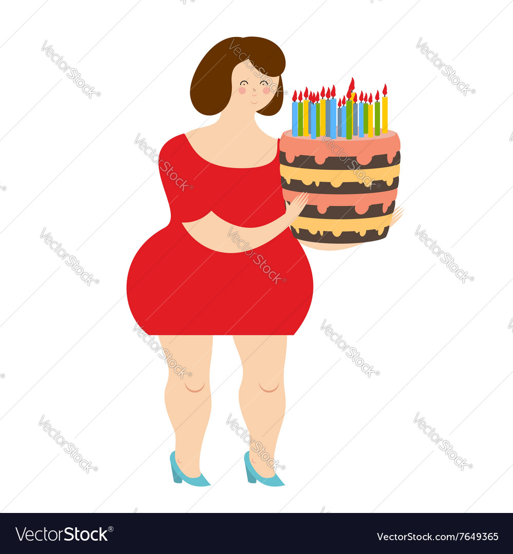 Birthday woman Fat cheerful girl and cake with.