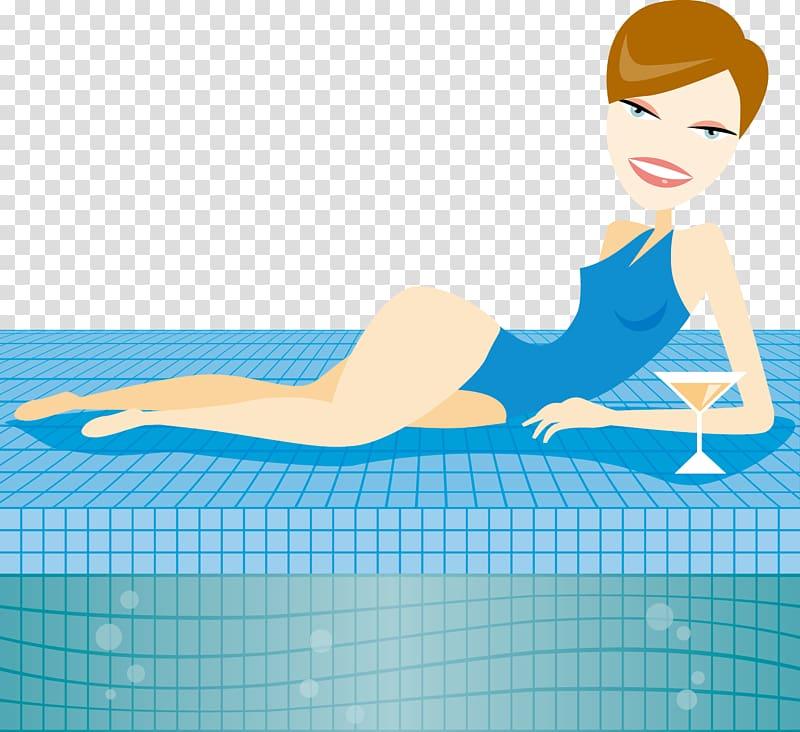 Swimming pool Cartoon Swimsuit Illustration, The poolside.