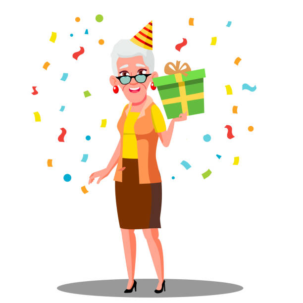 Clip Art Of A Old Lady Birthday Illustrations, Royalty.