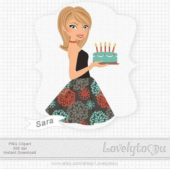 Woman birthday clipart party retro glamour digital by Lovelytocu.