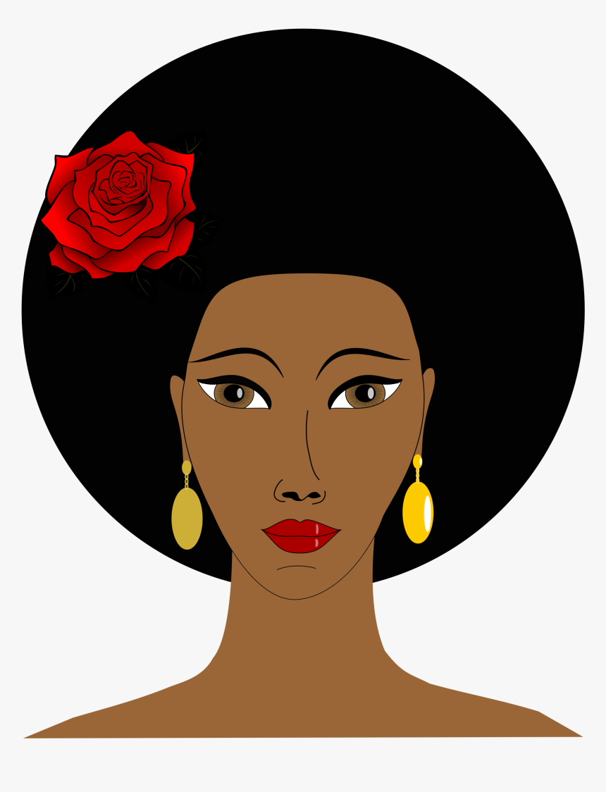 Black Woman With A Rose Icons Png.