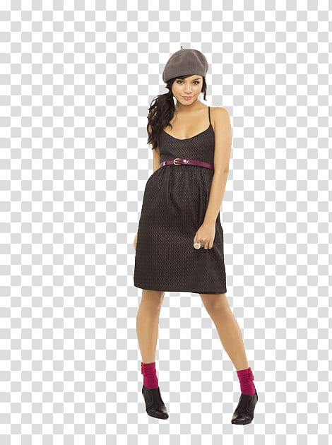 Vanessa Hudgens, women\'s black dress transparent background.