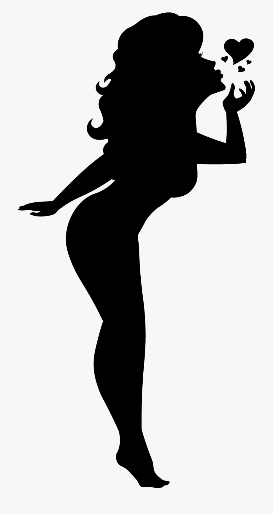 Blowing A Kiss Silhouette , Transparent Cartoon, Free.