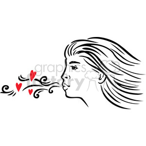 girl blowing a kiss clipart. Royalty.
