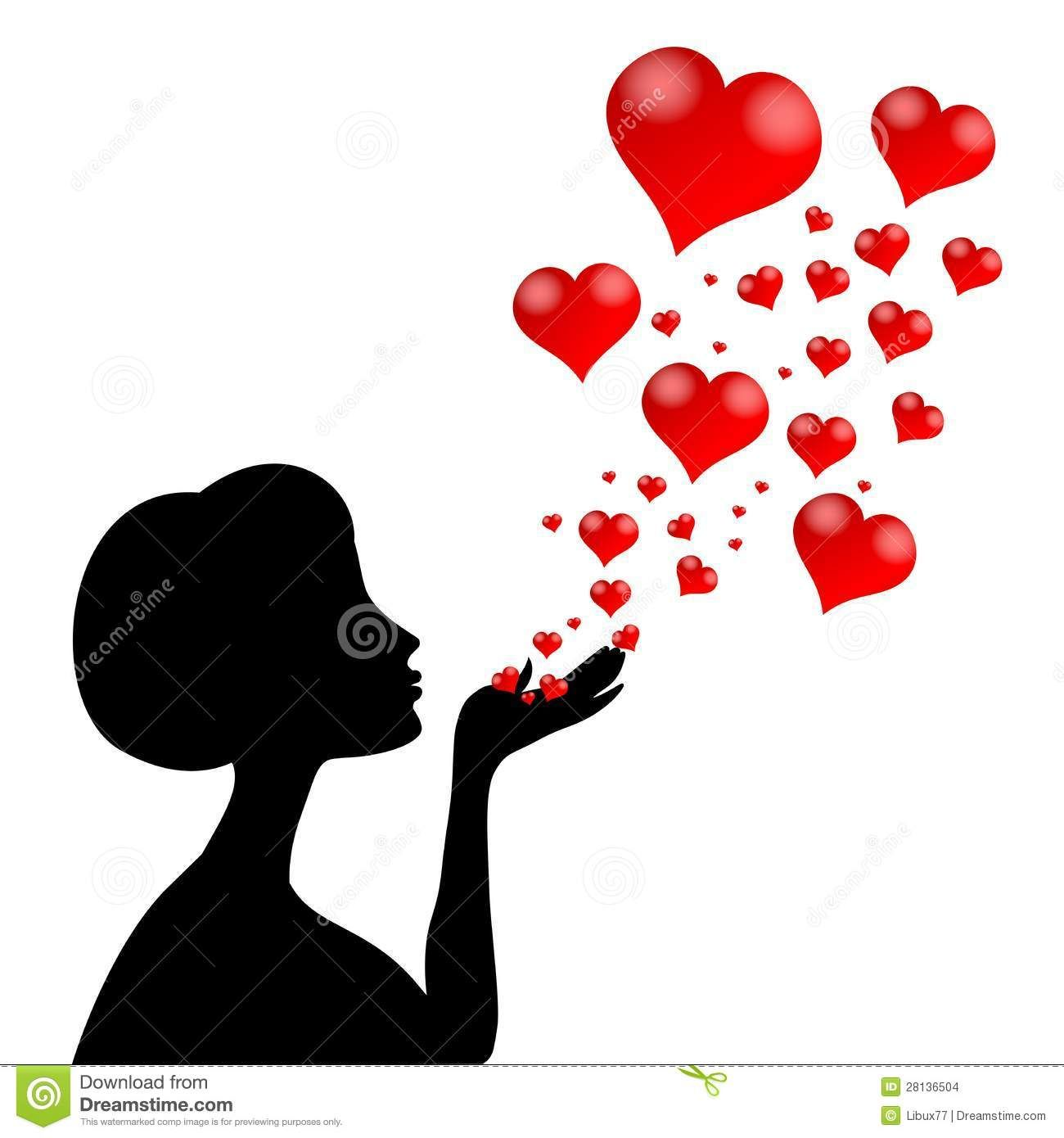 Silhouette Woman Blowing Heart Royalty Free Stock.