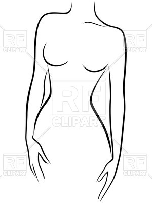 Outline of naked female body front view Vector Image #70427.