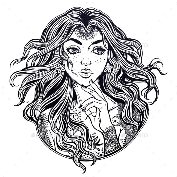 Pretty girl with wind in her curly hair and ornate tattoo.