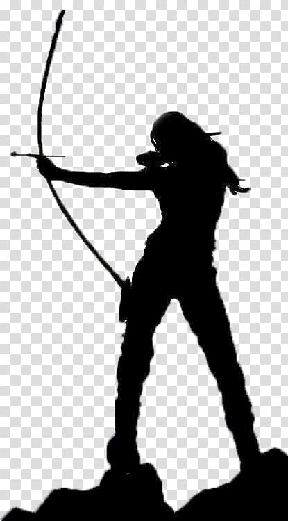 Woman holding bow and arrow silhouette illustration, Bow and.
