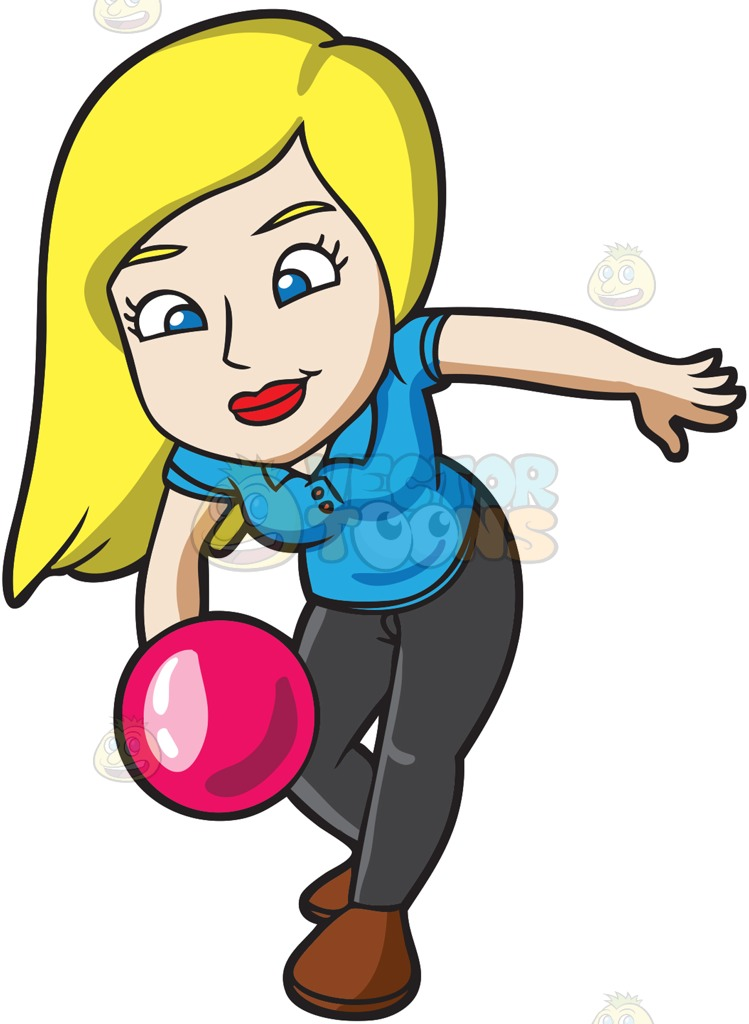 Women Bowling Clipart.