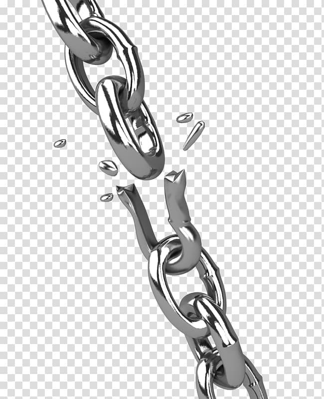 Broken silver chain, Ball and chain Presentation , broken.
