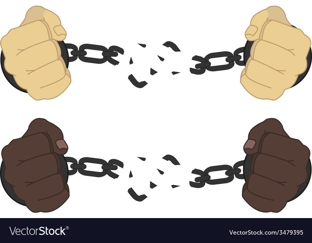 Male hands breaking steel handcuffs.