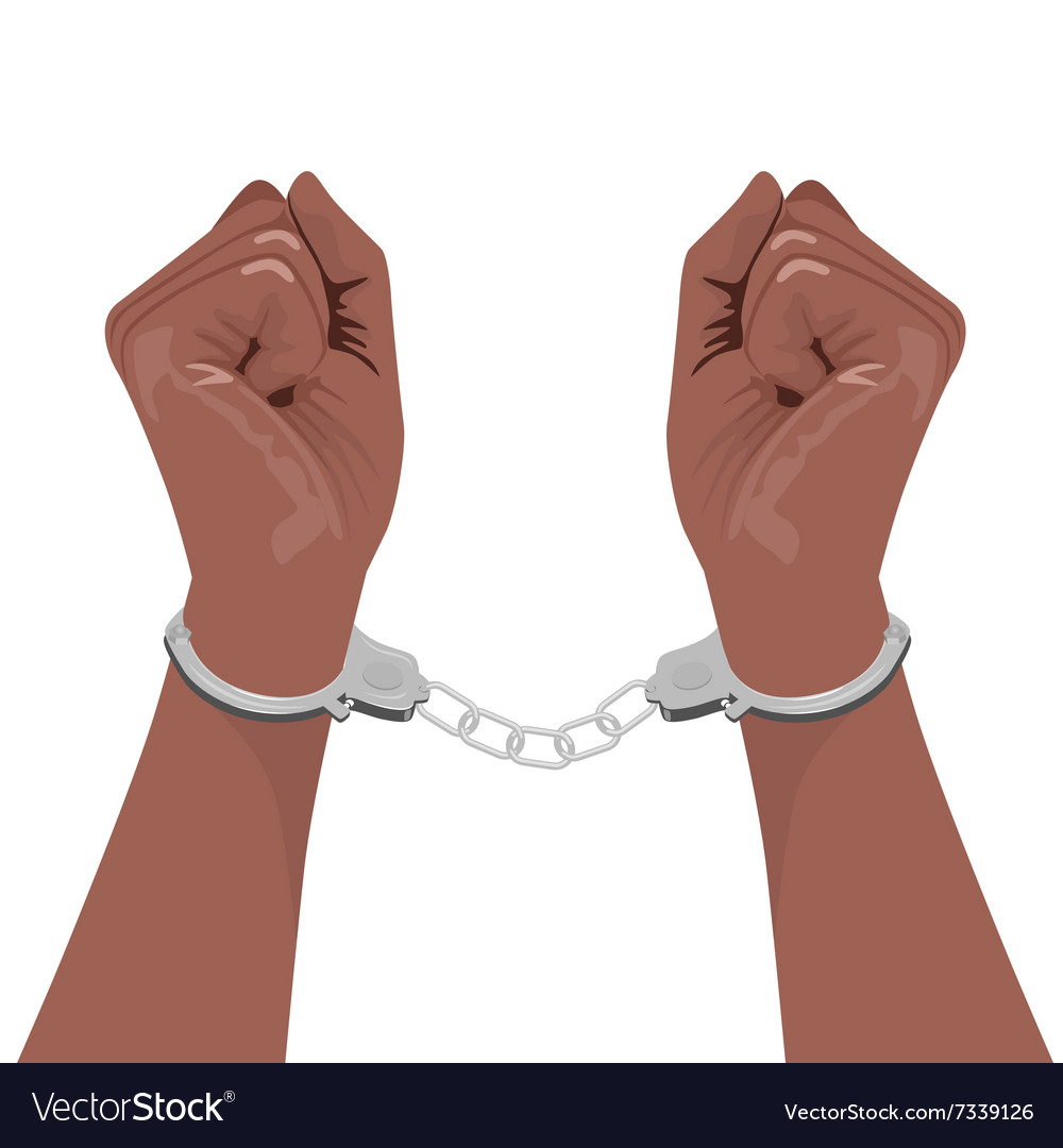 Pair of african american hands in handcuffs vector image.