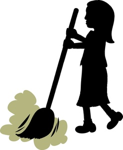 Girl or woman sweeping the floor with a broom.