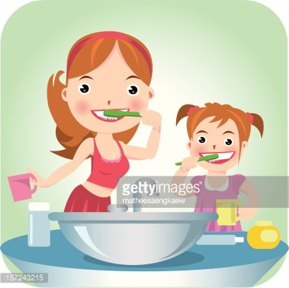 Woman and girl brushing teeth Clipart Image.