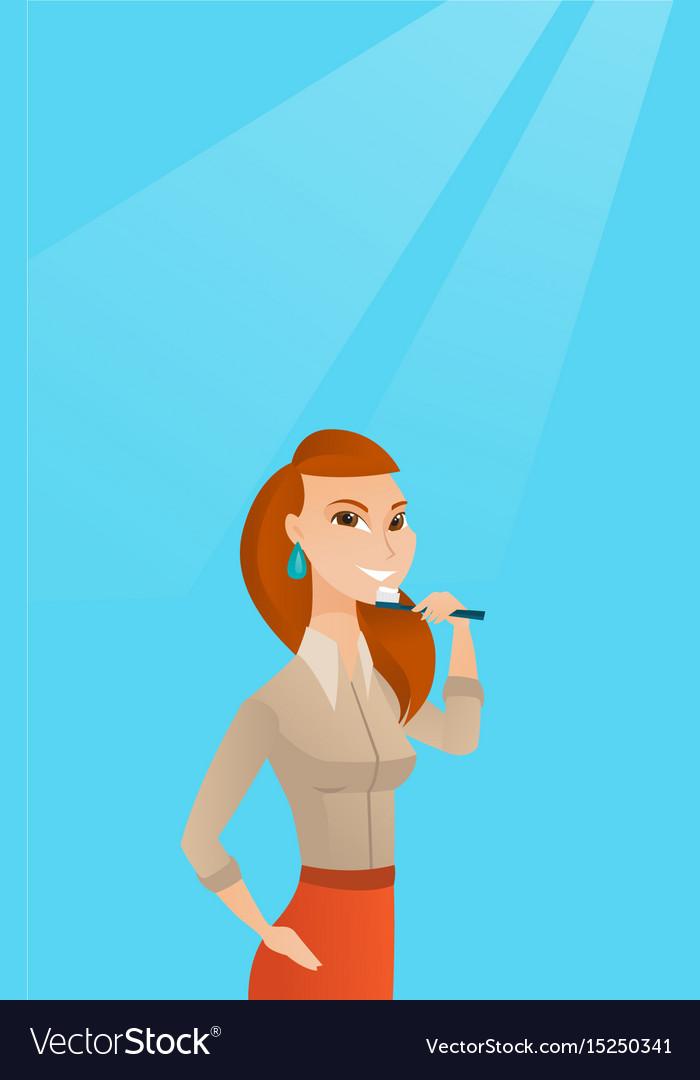 Woman brushing teeth.