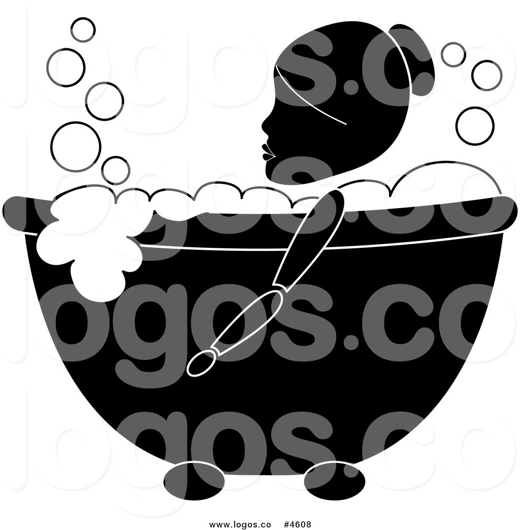 Royalty Free Woman Relaxing in a Bubble Bath Logo by Pams.