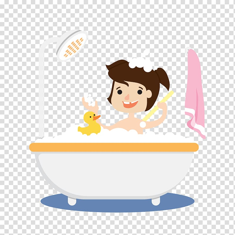 Woman in bathtub with rubber duck , Bathing Bathtub Bubble.