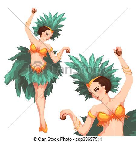 Vector Clip Art of Woman samba dancer. Rio carnival. Vector.