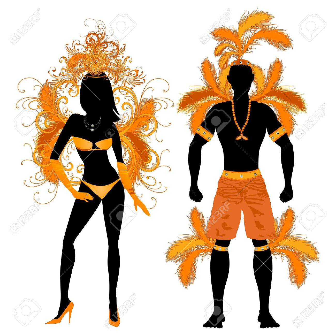 Vector Illustration Orange Couple For Carnival Costume Silhouettes.