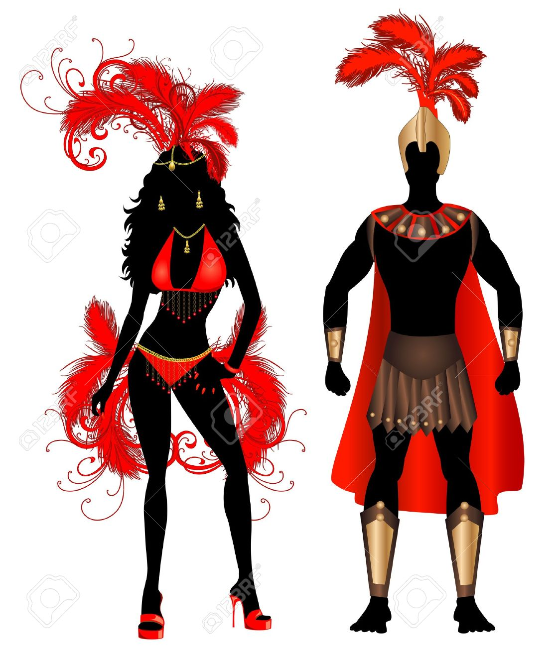 Vector Illustration Couple For Carnival Red Costume Silhouettes.