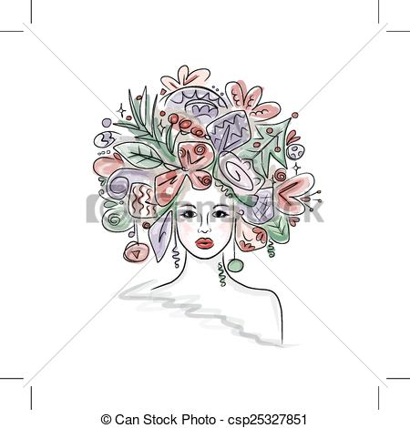 Clipart Vector of Woman portrait with hairstyle for christmas.