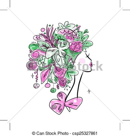 Clip Art Vector of Woman portrait with hairstyle for christmas.