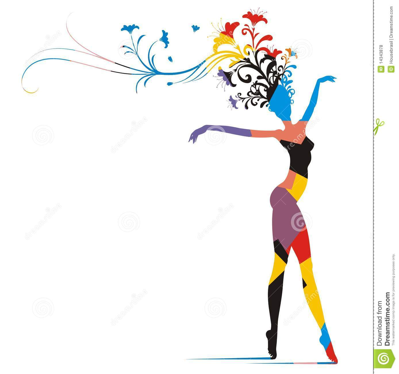 Carnival Woman Color Silhouette Royalty Free Stock Photos.