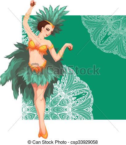 Clipart Vector of Woman samba dancer. Rio carnival. Vector.