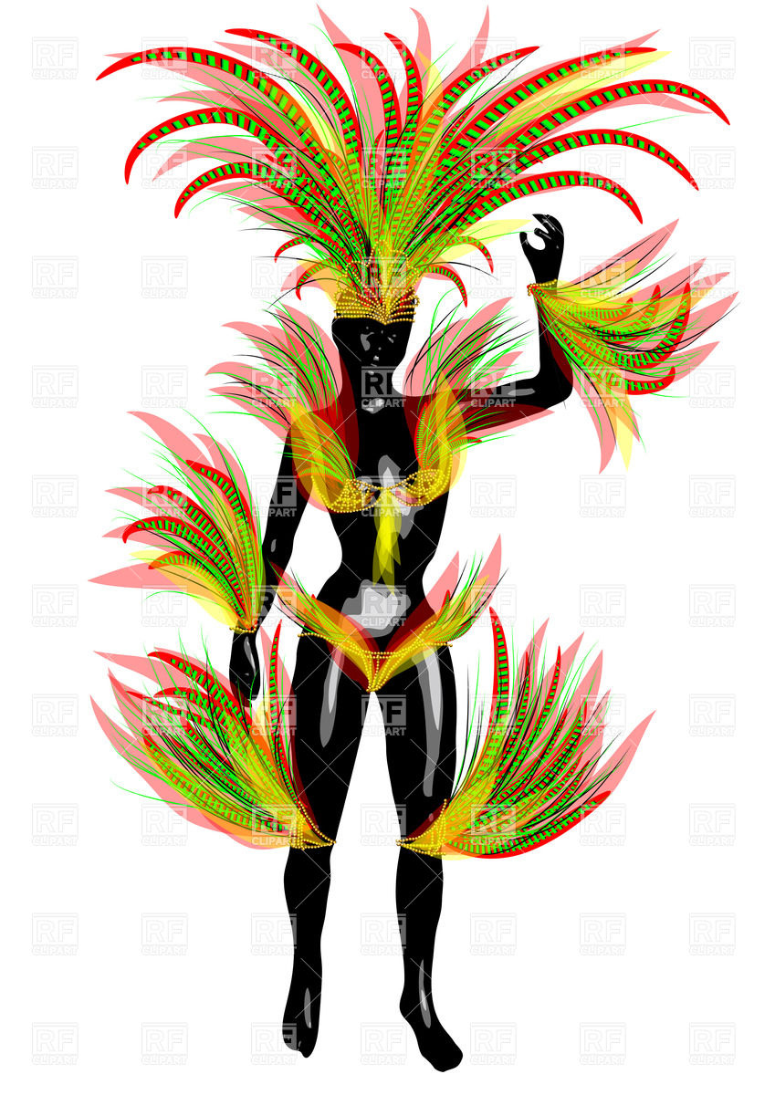 Black woman in carnival costume Vector Image #39382.
