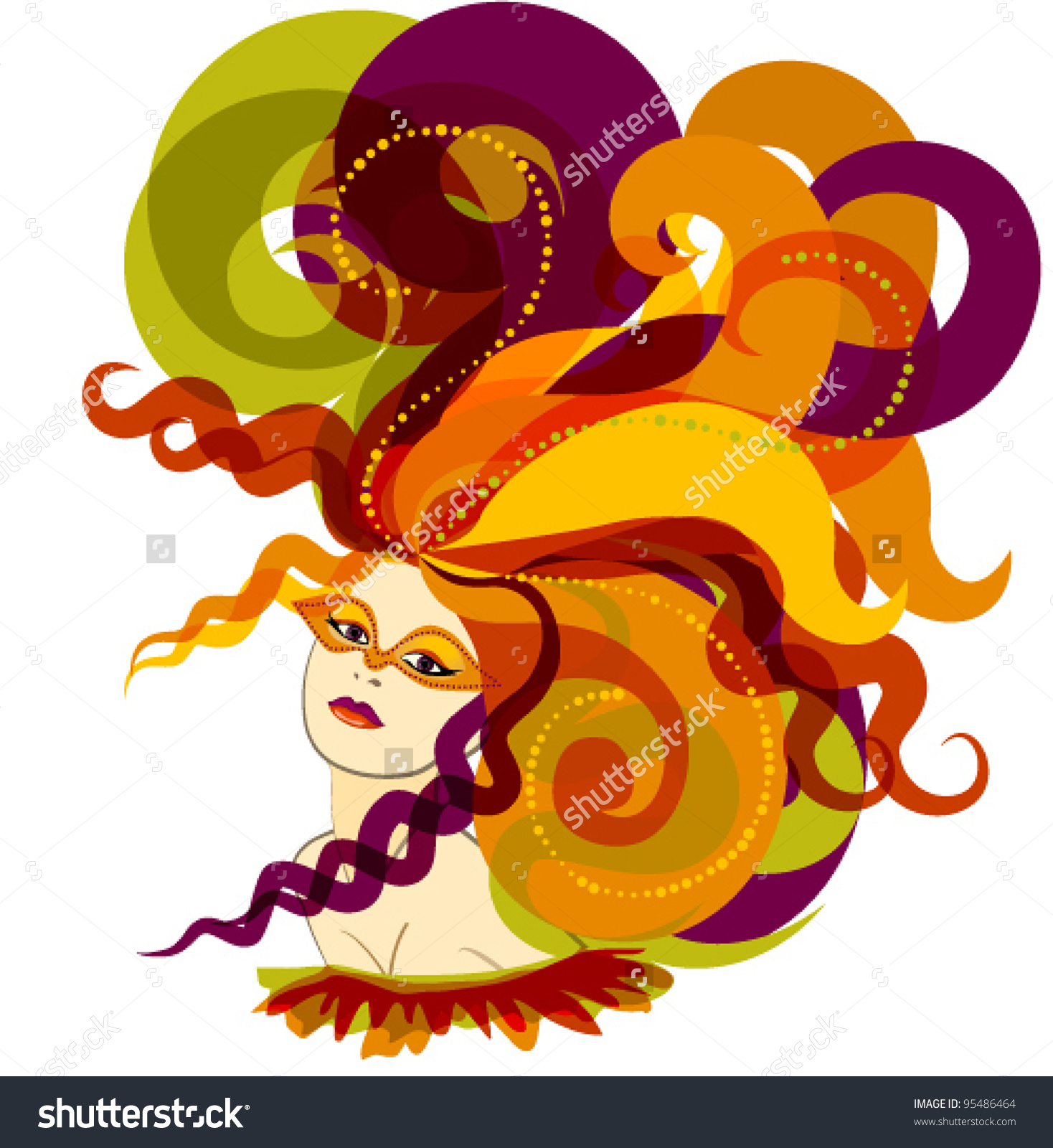 Woman Hat Feathers Carnival Stock Vector 95486464.